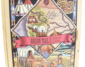wooden box of oregon trail II game box by mecc american west wooden box 25th limited edition