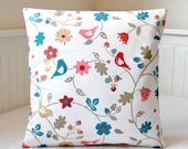 birds decorative pillow cover, blue teal red pink flowers cushion cover 16 inch