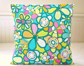 retro style cushion cover, teal blue lime pink white flowers floral decorative pillow cover 16 inch