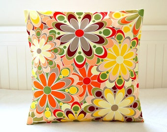 retro style cushion cover, yellow orange green grey peach flowers floral pillow cover 16 inch