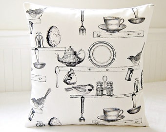 decorative pillow cover grey antique style kitchen teacup birds teapot, gray cushion cover 18 inch