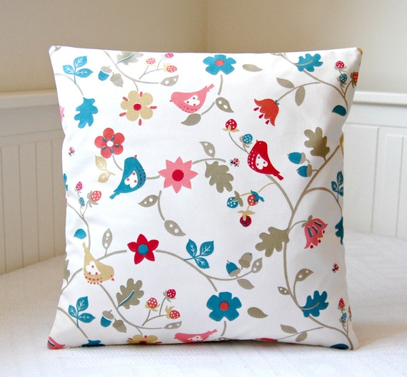 birds decorative pillow cover blue teal red pink flowers