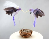 Purple Hummingbird Wedding Cake Topper: Unique Bride and Groom Love Bird Cake Topper -- LoveNesting Cake Toppers
