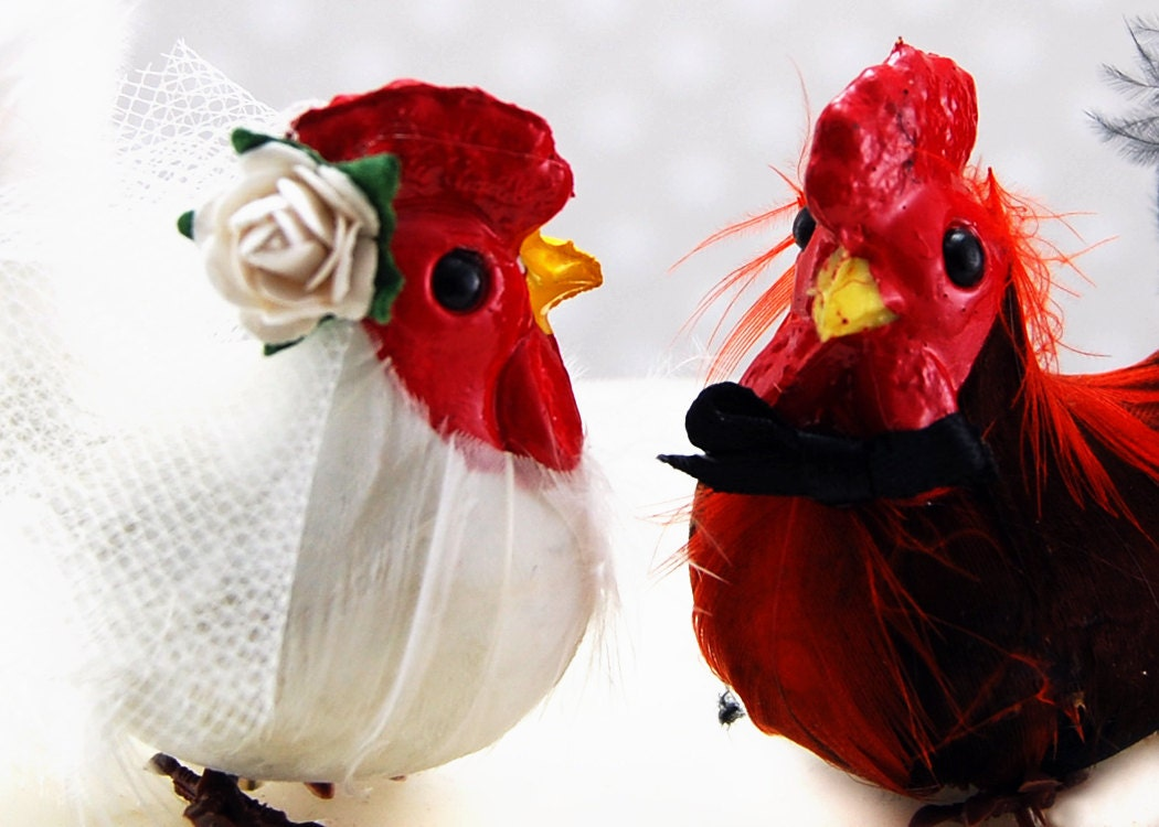 Chicken And Rooster Cake Toppers