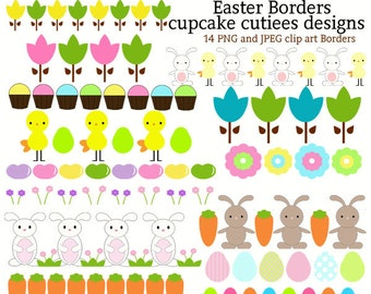 Easter Borders Whimsical Digital Clip art collection Instant Download