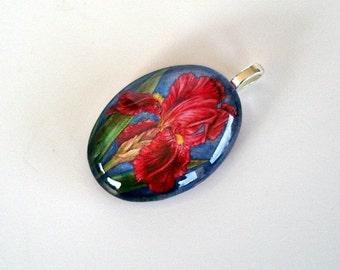 Dark Red Cranberry Maroon Iris Jewelry Oval Art Glass Pendant
