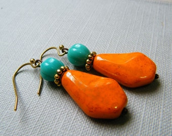 Orange and Turquoise Vintage style Dangling Earrings