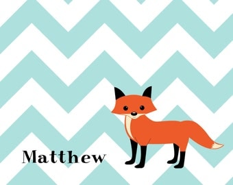 Chevron custom personalized stationery classic  children notecards fox thank you notes  shower gift  monogram note cards wedding