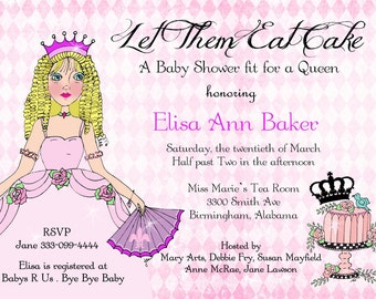 Let them eat cake Marie Antoinette baby shower invitation thank you notes personalized baby invites
