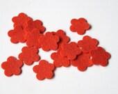 Felt Flowers, Set of 15 Die-Cut Shapes, 100% Wool Felt Tiny Blossoms, 3/4 inch, Quilt Applique, Confetti,  Party Supply,  Wedding Shower DIY