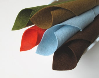 100% Wool Felt - Robins Nest Color Story - Pure Merino Wool Felt - Five Piece Set - 8 x 12 Sheets