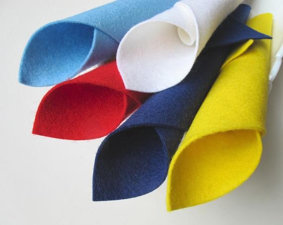 100% Wool, Felt Color Story, Viva Las Vegas, Merino Wool, 8 x 12 Inch Sheets, Five Piece Set, Lemon Yellow, Red, White, Blue, Navy