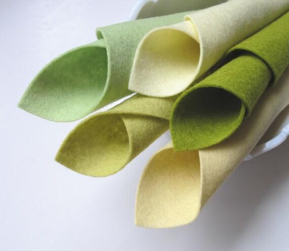 100% Wool Felt - Glow Worm Color Story - Merino Wool Felt Squares - 8 x 12 Sheets