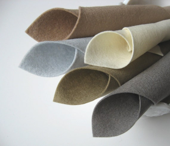 100% Wool, Felt Fabric Sheets, Five Piece Set, Light Naturals Color Story, Ecru, Taupe, Smoke, Beige, Silver Grey, Neutral Colors, Sewing