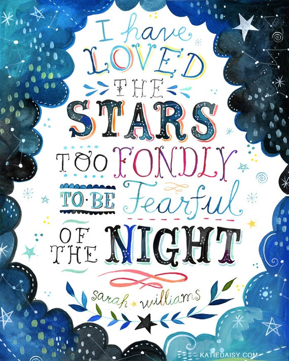 Loved The Stars Art Print  | Watercolor Quote | Inspirational Print | Lettering | Celestial Wall Art | Katie Daisy | 8x10 | 11x14