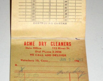 Vintage(1960s) Used Dry Cleaning Store Receipts for Altered Art, Collage, Card Making, etc.