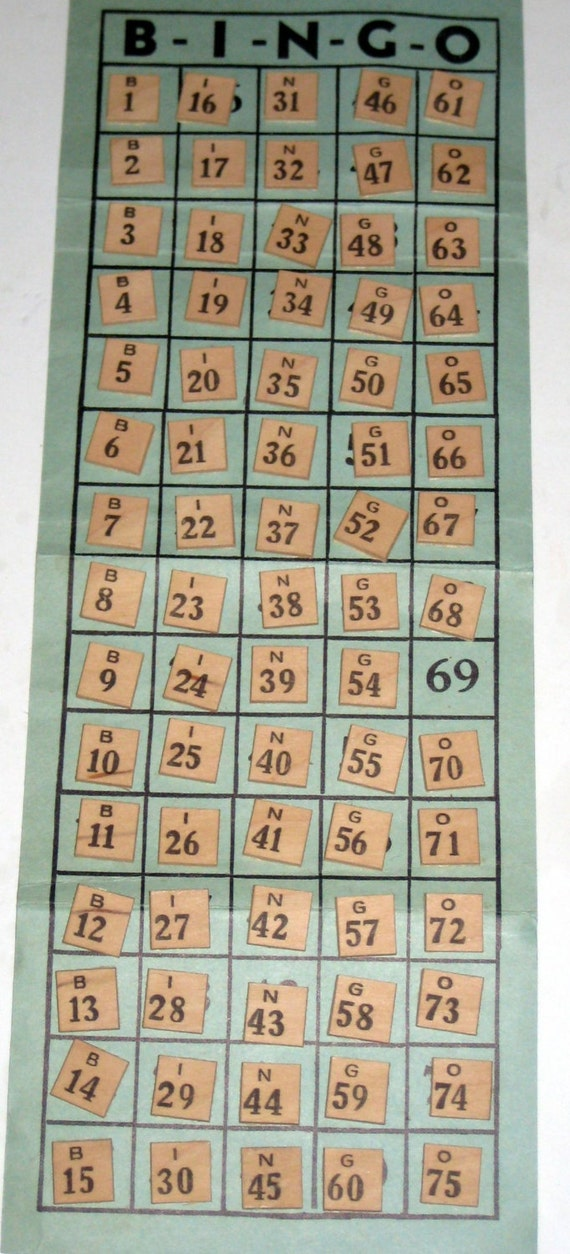 Vintage 1940s Square Wood Bingo Numbers For Altered Art