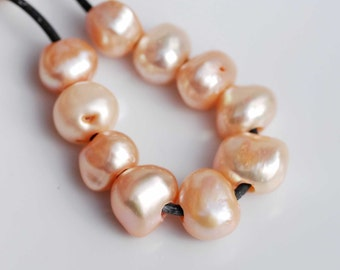Large Hole freshwater pearl 2.5mm hole---10 pc peach 8-10mm baroque nugget Pearl--New Promotion #LH8015