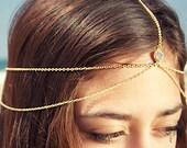 Drusy Druzy quartz gold vermeil head chain. headpiece. headdress