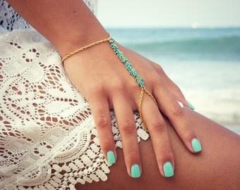 LOVMELY HAND CHAIN. bracelet. slave bracelet. turqouise or coral