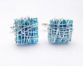 Eco friendly Cufflinks, Blue Cuff links, Glass cuff links, Recycled Glass jewelry for men