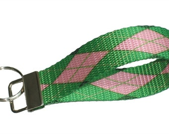 Key fob Keychain wristlet argyle pattern in preppy green and pink