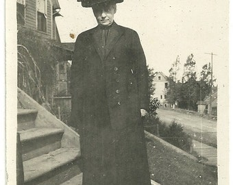 Vintage Victorian Photo Elderly Lady In Big Black Hat With Bow Photograph
