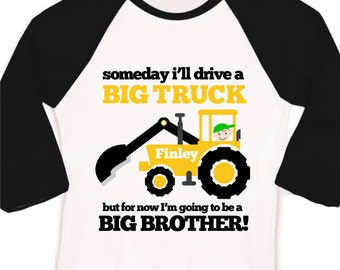Big brother to be big truck excavator pregnancy announcement raglan Tshirt