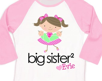 Big sister to twins squared personalized stick figure pink/white raglan shirt Tshirt
