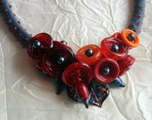 Hot Orange and Red Lampwork Glass One of  a Kind Handmade Silk Necklace