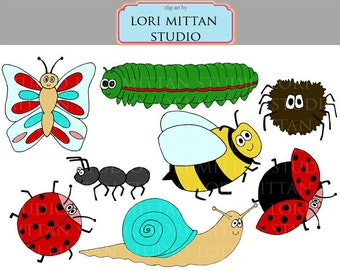 Cute Bug Clip Art, Digital Files, Clipart of Lady bug, Spider, Ant, Snail, Butterfly, Bee and Caterpillar, for personal and commercial use