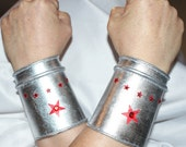 Wonder Woman Silver Cuffs replica as worn by Lynda Carter first season... Ready to ship...one hundred percent Gleeming Empowerment...
