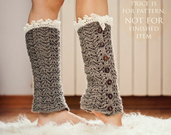 Instant download - Crochet PATTERN for leg warmers (pdf file) - Luxury Leg Warmers