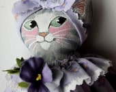 Special Order for BETH:  Blue grey tabby cat with green eyes...with outfit made all with yellows!
