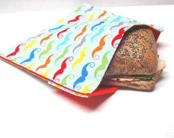 Reusable Sandwich Bag, Mustache, Eco Friendly Lunch Kit,  Eco Lunch Tote, Work or School Sandwich Bag, Mens, Teens, Earth Day, Ready to Ship