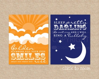Golden Slumbers, Quote by The Beatles // Set of Two Nursery / Kids Room Art Prints // Choose your own colors // N-G04-2PS AA1