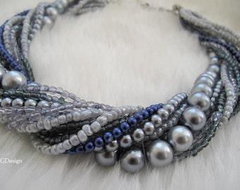 Bold Bridal Wedding , Handmade, Chunky Layered Grey Tones Pearl- Seed Beads , Multistrand  Pendant