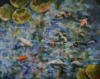 Original Art Painting Goldfish Koi Pond Lillies Lilypads Water Fish Sarah Davis