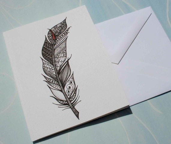 Items Similar To Zentangle Feather Greeting Card On Etsy