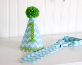 Aqua Chevron Toddler tie to coordinate with aqua and lime birthday hat and banner