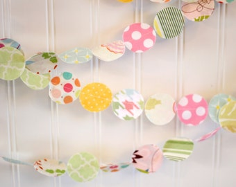 Pastel Easter Spring Fabric Circle Garland 6 foot - Nursery/bedroom decor, photo prop, party decoration, Shower decoration