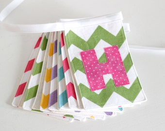 Pastel Chevron Fabric Birthday Banner Pink, Aqua, Yellow, Lavender, and Lime Green