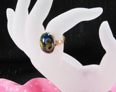 HALF PRICE Millefiori Oval Ring Upcycled Blue Green Yellow Red Accessory