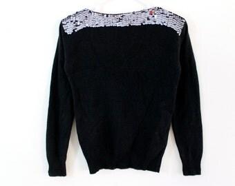 80s Black Sequin Angora Lambswool Indie Rocker Glam Sweater Top Blouse Shirt . XS . D108 . No.188.3.15.13