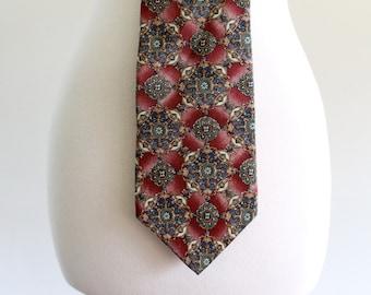 80s Bill Blass Pattern Baroque Tie Necktie . Abox . No.202.3.30.13