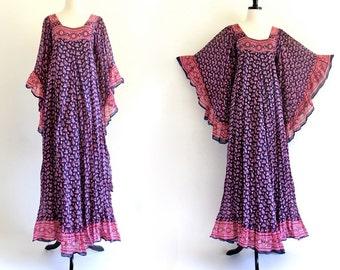 70s Vintage Rare Boho Kaftan India Indian Empire Goddess Festival Gypsy Maxi Dress . XS . SM . No.273.4.26.13