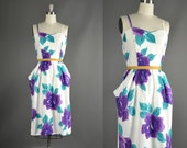 Vintage 1980s Dress /  floral sweetheart dress / 80s Dress / 1980s Dress