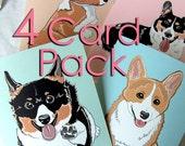 Corgi Greeting Cards - 4-Card Pack