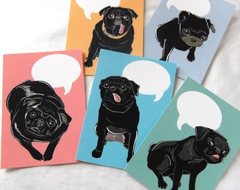 Convo Black Pug Valentines - Eco-friendly Set of 5