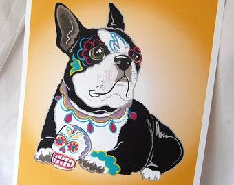 Muertos Boston Terrier - 8x10 Eco-friendly Print